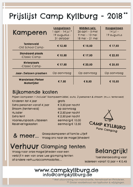 Prijslijst 2018 Camp Kyllburg